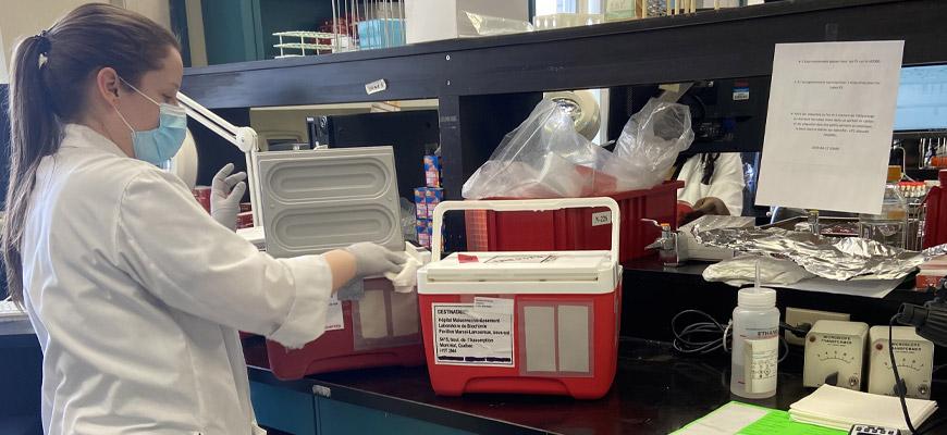 Angie Jetté reçoit les échantillons pour analyse COVID-19